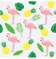 flamingos pink palms vector image