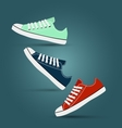 Girl teen red blue mint gymshoes vector image vector image