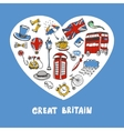 Great Britain Colored Doodles Collection vector image vector image
