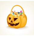 Halloween Pumpkin with Candies vector image