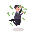 happy businessman character jumping under money vector image vector image