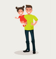 happy dad keeps daughter in her arms vector image vector image