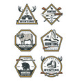 hunting retro icons with animals and hunter gun vector image