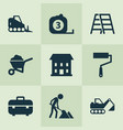 industry icons set with house wheelbarrow vector image vector image