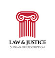 ionic order column emblem for law and legal vector image vector image