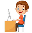 little boy with personal computer vector image vector image