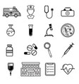 medicine icons set in flat style vector image