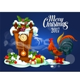 Merry Christmas card with rooster and gift box vector image vector image