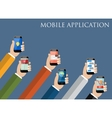 Mobile application concept Hands holding phones vector image vector image