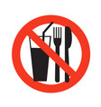 no eating and drinking sign ban on food forbidden vector image vector image