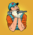 plumber with wrench dreamer thinks vector image vector image