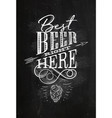 poster lettering best beer right here chalk vector image vector image