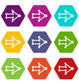 right arrow with thick contour icons set 9 vector image vector image