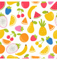seamless pattern with cute fruit summer tropical vector image vector image