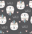 seamless pattern with cute indian cats vector image
