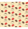 seamless sweet pattern with donuts and cup of vector image