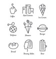 set linear icons logos for small vector image