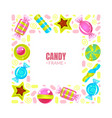 square frame made colorful sweets vector image