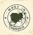 Stamp with map of Cambodia vector image vector image