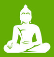 statue of buddha sitting in lotus pose icon green vector image