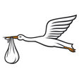 stork carrying a baby in its beak vector image vector image