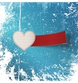 Valentines Day Heart Label on winter Background vector image vector image