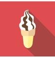 Waffle cone ice cream icon flat style vector image