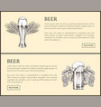 wheat beer glass and hopped drink mug landing page vector image