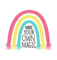 with colored rainbow with hands and lettering vector image