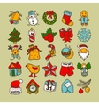 Set of sketch drawing christmas doodle icons vector image