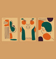 abstract cards with women faces and heads vector image