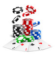 aces lying near realistic casino chips cards vector image