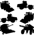Agricultural vehicles silhouettes vector image vector image