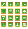 architecture icons set green vector image