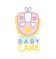 baby care logo design emblem with pink baby bib vector image