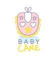 baby care logo design emblem with pink bib