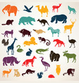big set of african and european animals vector image vector image