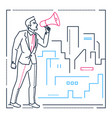 businessman with a megaphone - line design style vector image