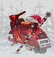 cartoon christmas motorcycle santa claus standing vector image