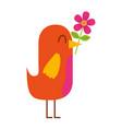 cartoon cute bird with flower in beak vector image