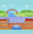 city bridges banner set cartoon style vector image vector image