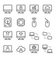computer technology line icon set vector image vector image