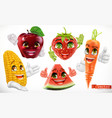 corn apple strawberry watermelon carrot funny vector image vector image
