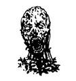 cruel zombie head vector image vector image