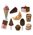 delicious dessert chocolate cakes and croissant vector image vector image