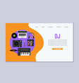 dj music workspace flat design vector image