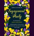 engagement party floral card of wedding invitation vector image vector image
