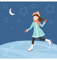 Figure skating at night vector image vector image