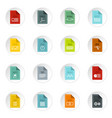 file format icons set flat style vector image vector image