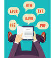 Flat mobile reader with different formats vector image vector image